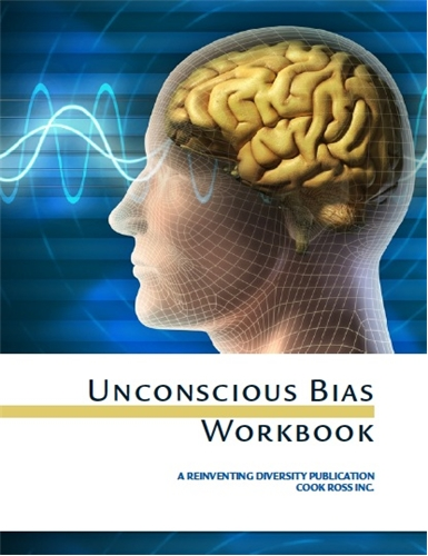 Cover image of Cook Ross' Unconscious Bias Workbook featuring an illustration of a brain inside a head
