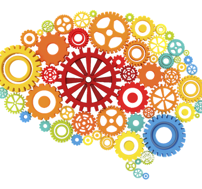Icon of multi colored gears that form a brain
